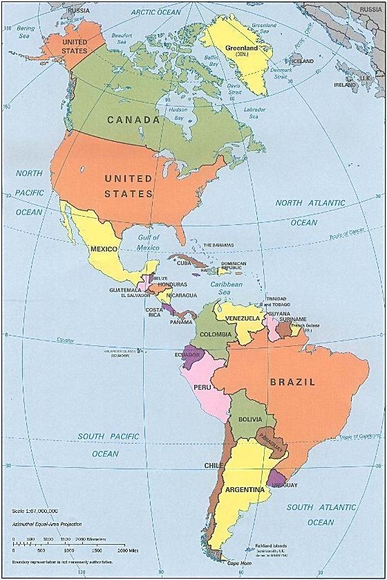 Mapa da América - Cola da Web