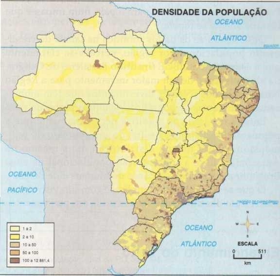 Mapa com a distribuição da população pelo terrirório brasileiro.