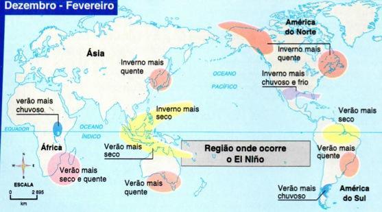 Alterações climáticas provocadas pelo El Niño de dezembro a fevereiro