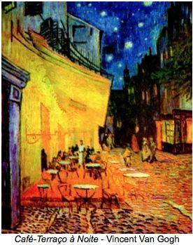 Pintura impressionista de Vincent Van Gogh - Café-Terraço à Noite