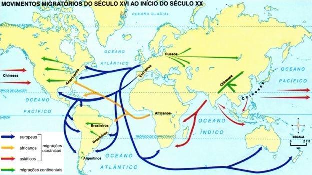 Movimentos migratórios do século XVI ao início do século XX