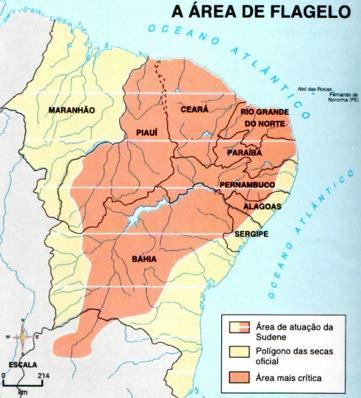 Mapa com a área do polígono das secas