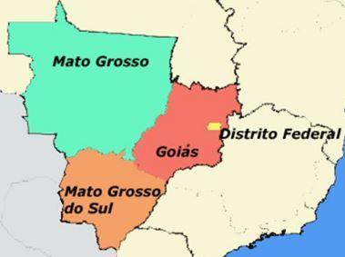 Mapa da região Centro-oeste
