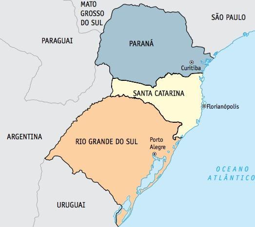 Mapa da região sul do Brasil