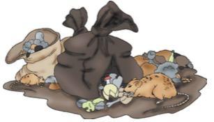 Rato vasculhando lixo