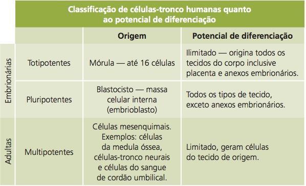 Classificação das células-tronco humanas quanto ao potencial de diferenciação.