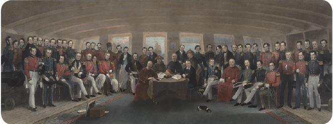Assinatura do tratado de Nanquin quando os chineses foram derrotados na Guerra do Ópio.