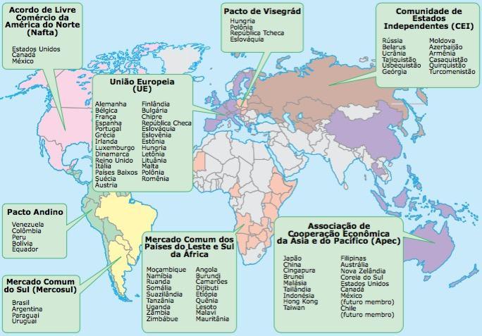 Blocos econômicos atuais no mundo.