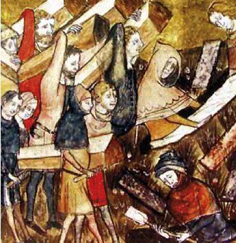 Quadro que retrata o enterro de vítimas com a peste negra.