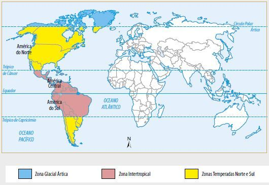 Mapa das zonas térmicas do Continente Americano.