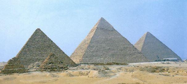 Pirâmides construídas no Egito Antigo.