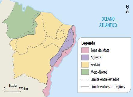 Mapa das sub-regiões do nordeste.