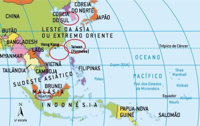 Mapa destacando os países Tigres Asiáticos.
