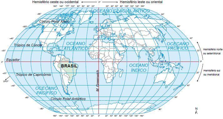 Localização do território brasileiro.