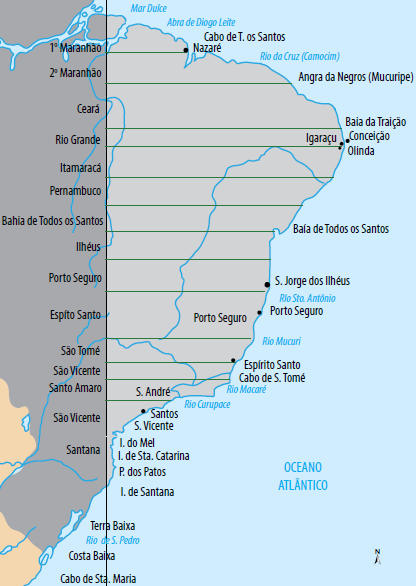 Mapa das capitanias hereditárias.