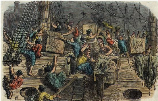 Festa do Chá na independência dos EUA.