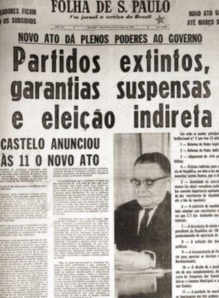 Artigo de jornal da época da ditadura militar no Brasil.