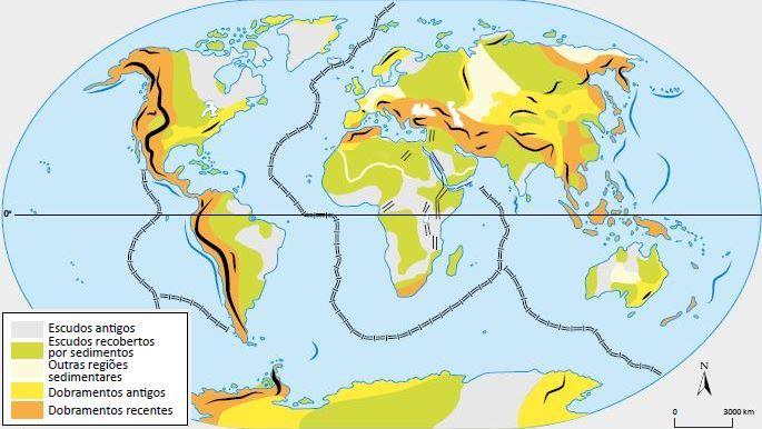Mapa das estruturas geológicas da terra.