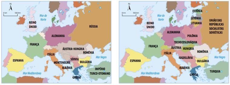 Novo mapa político europeu após o Tratado de Versalhes.