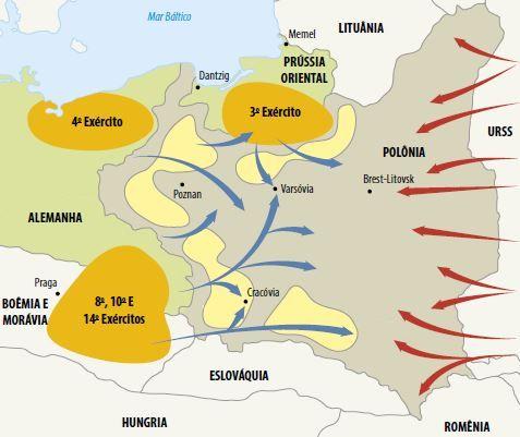 Mapa da invasão à Polônia, causa principal da Segunda Guerra Mundial.