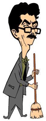 Caricatura de Jânio Quadros com uma vassoura.