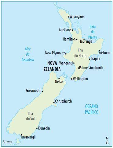 Mapa político da Nova Zelândia.