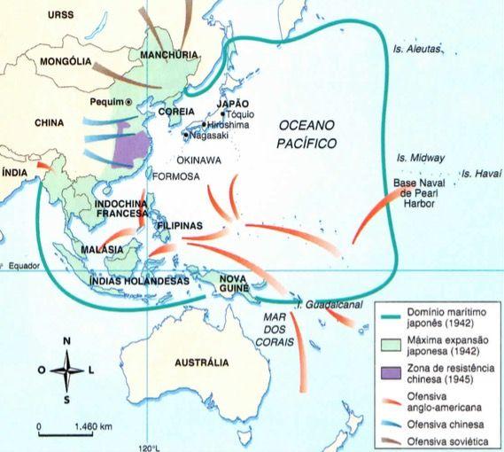 Mapa da reação aliada na Segunda Guerra Mundial.