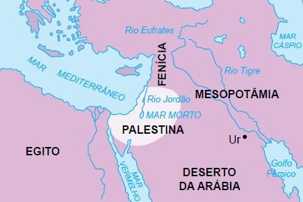 Mapa da Palestina na época dos hebreus.