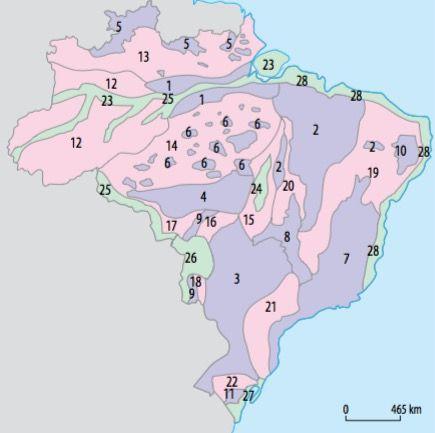 Mapa do relevo brasileiro segundo Jurandyr Ross.