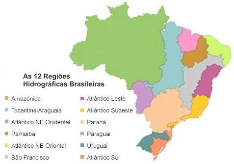 As 12 regiões hidrográficas do Brasil.