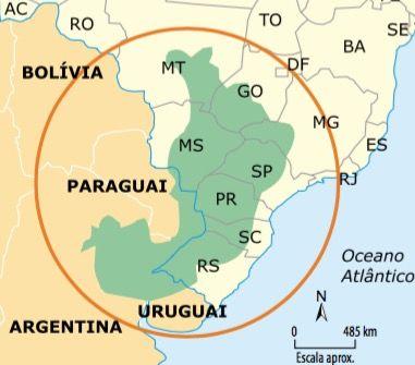 Mapa do Aquífero Guarani.