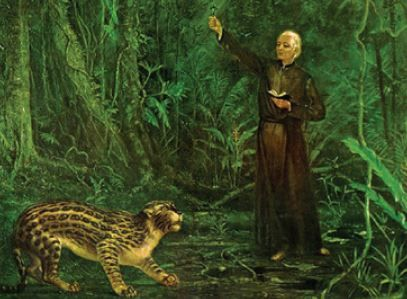 O padre José de Anchieta pacifica uma fera, tendo em uma das mãos a cruz e na outra a Bíblia.