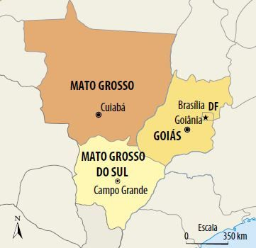 Mapa da Região Centro-Oeste.