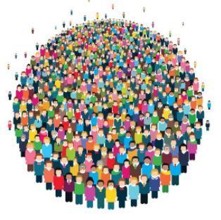 Várias pessoas em um círculo representante as teorias demográficas.