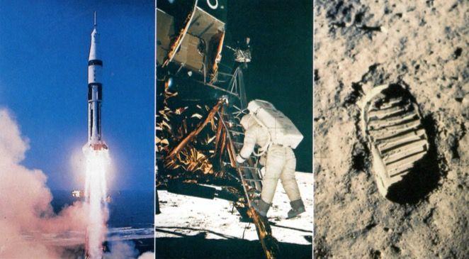 Imagens da conquista da Lua.