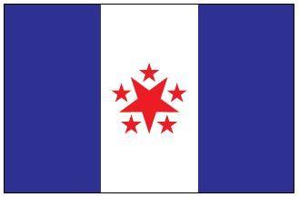 Imagem da bandeira da Conjuração Baiana com as cores azul branca e vermelha e uma estrela no centro.