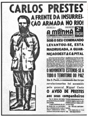 Capa de um jornal com Carlos Prestes em destaque.