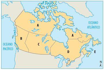 Mapa com as regiões econômicas do Canadá.