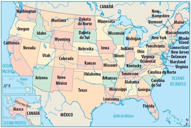 Mapa político dos Estados Unidos.