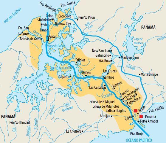 Mapa do Canal do Panamá.