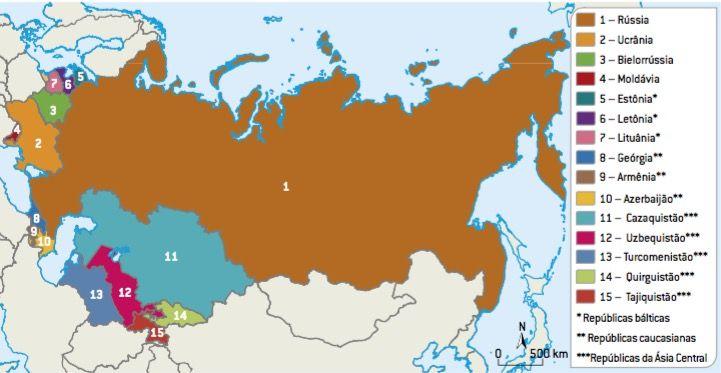 Mapa da União Soviética.