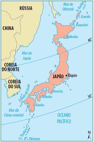 Mapa do território japonês.