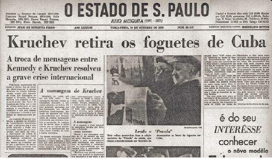 Jornal falando do fim da crise dos mísseis em Cuba.