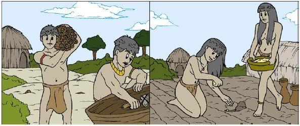 O trabalho na cultura indígena.