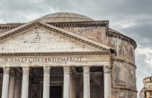 Arquitetura de um templo romano.