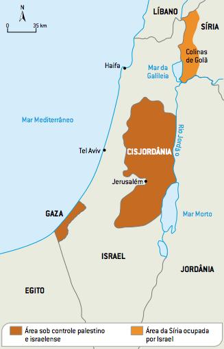 Mapa com os conflitos do Oriente Médio