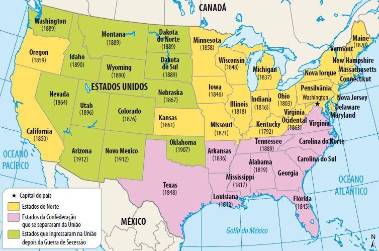 Mapa da Guerra de Secessão.
