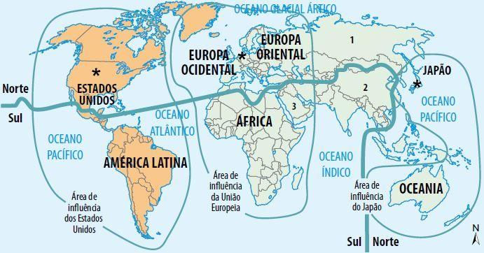 Mapa representa a divisão econômica do espaço mundial pós-Guerra fria.