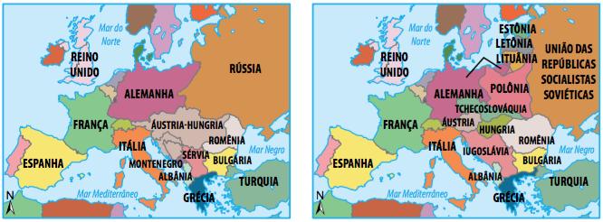 Mapa político europeu antes e após a Primeira Guerra.