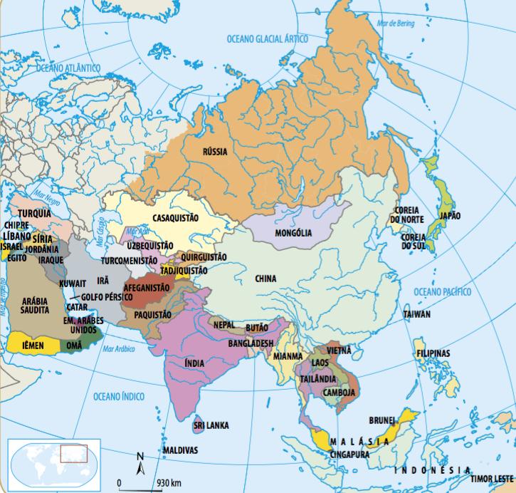 Mapa com todos os países do continente asiático.